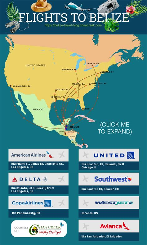 flights to belize airlines infographic schedule 2019 update