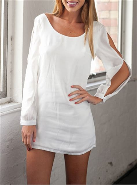 Sleeve Bow Shirt Dress white shirt dress open sleeve design bow back detailing