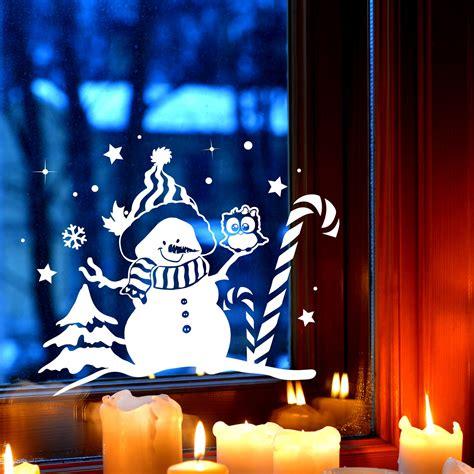 Fensterbilder Weihnachten Selbstklebend Sterne by Fensterbild Schneemann Eule Fensterdeko Winterlandschaft
