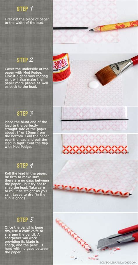 How To Make Paper Pencil - crafty diy how to make paper wrapped pencils karboojeh