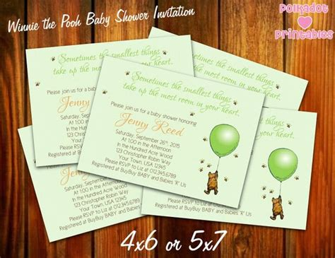 Classic Winnie The Pooh Baby Shower Invitations Printable by Classic Winnie The Pooh Green Baby Shower Invitation 4x6