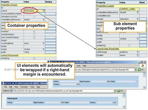 layout manager flowlayout sapsystemsofreza taw12 defining the user interface ui