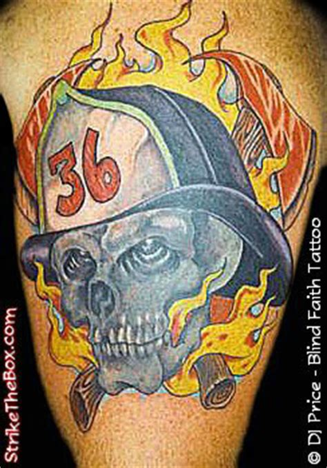 blind faith tattoo firefighter skull
