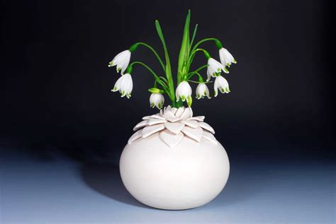 lotus vase handmade ceramics home decorating photo