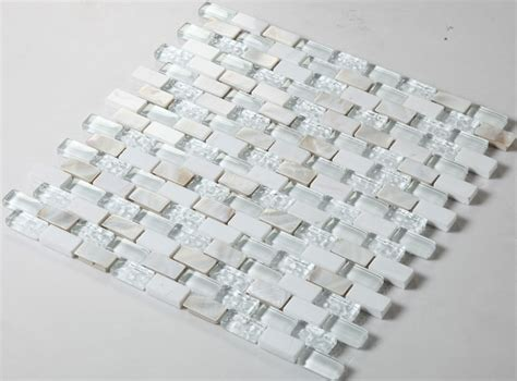Cream Stone and Glass Mosaic Tile Subway Tile with Shell