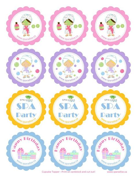 printable party toppers 17 best images about spa party printables on pinterest