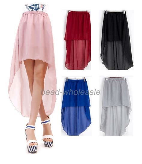 beautiful s high low skirt a line summer sheer