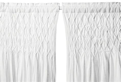 white cotton curtain panels smocked 108 quot cotton curtain panel white