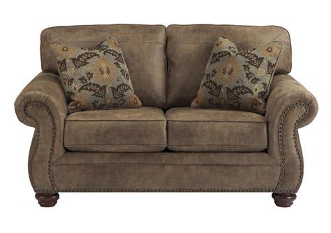 signature design  ashley larkinhurst earth loveseat  nailhead trim wayside furniture