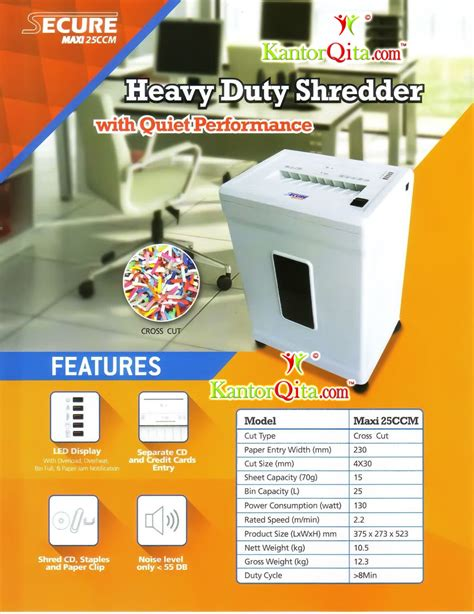 Mesin Penghancur Kertas Cross Cut Shredder Tpr210 mesin penghancur kertas paper shredder secure maxi 25 ccm
