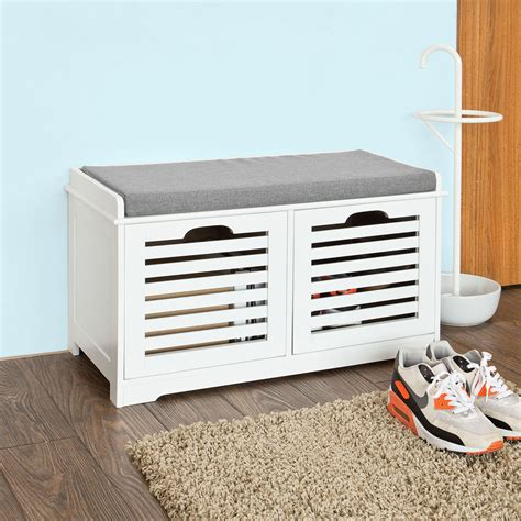 Shoe Storage Bench With Seat Sobuy Shoe Cabinet Storage Bench With 2 Drawers Seat Cushion Fsr23 K Wn Uk Ebay