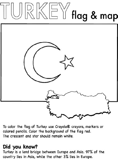 coloring page of turkey flag turkey nation coloring page crayola com