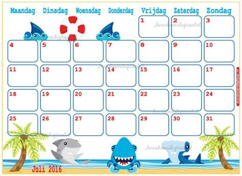Kalender 2016 Juli Feestelijke Traktaties Printables Sweet Tables