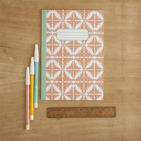 a5 patterned notebook orange floral tile pattern a5 notebook by little paisley