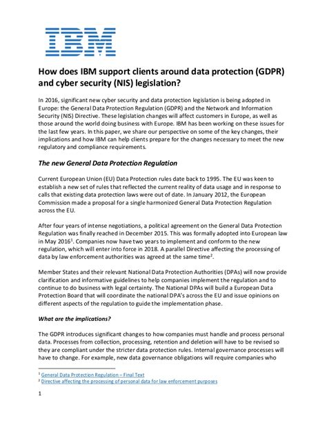How Ibm Supports Clients Around Gdpr And Cybersecurity Legislation Data Retention Policy Template Gdpr