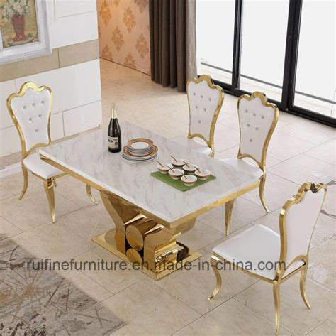 china modern dining room furniture stainless steel gold