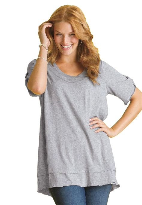 Louis Blouse Jumbo Bigsize top in mega tunic knit with layered look plus size tunics within and fashion