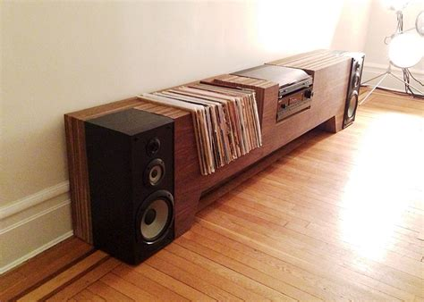 diy record player cabinet ultimate record player console the awesomer