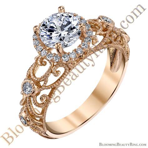 Filigree Engagement Ring by La Ornamental Filigree Halo Engagement