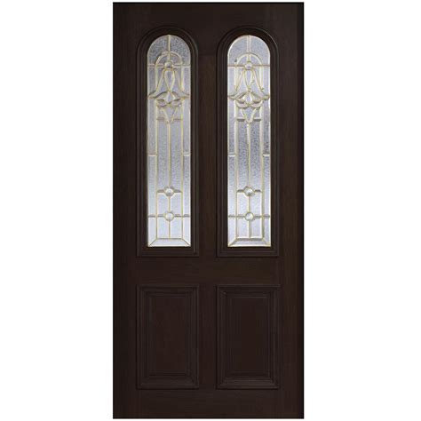 Solid Wood Front Door With Glass Door 36 In X 80 In Mahogany Type Arch Glass Prefinished Espresso Beveled Brass Solid