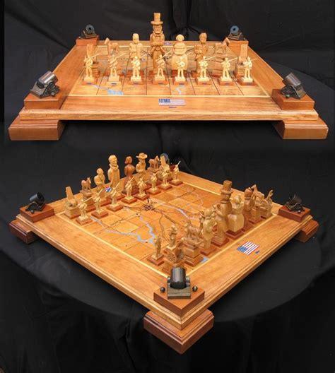 custom chess sets chess set handcarved civil war chess set on etsy handmade