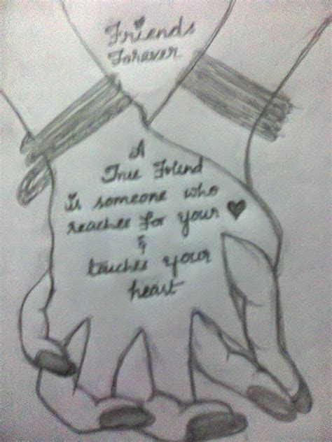 Sketches With Quotes by Pencil Sketches Happy Friendship Day
