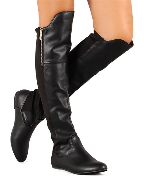 thigh high flat boots new qupid proud 32 leatherette fabric pointy toe