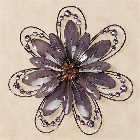 purple floral gem metal wall accent