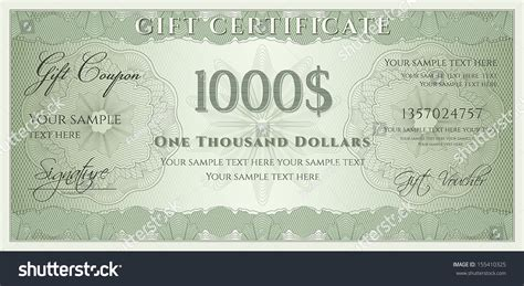 bank note template voucher gift certificate coupon ticket template stock