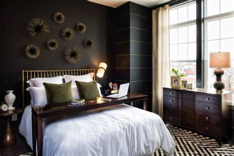 bedroom decorating  black wallpaper  modern wall