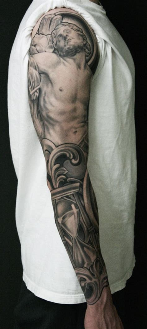 tattoo christianity viewpoints jesus christ religious full sleeve tattoo sleeve full