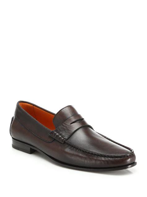 santoni loafer santoni turner leather loafers in brown for