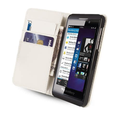 leather style wallet for blackberry z10 white