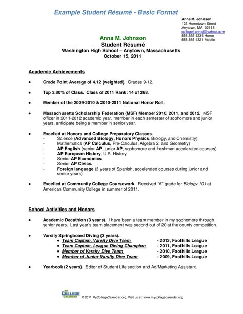 sle high school student resume for scholarships student resume format a