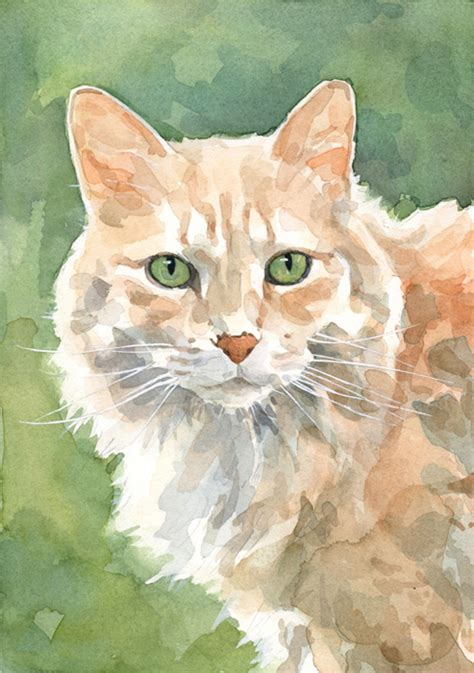 painting cats custom cat portrait watercolor painting 5x7 david