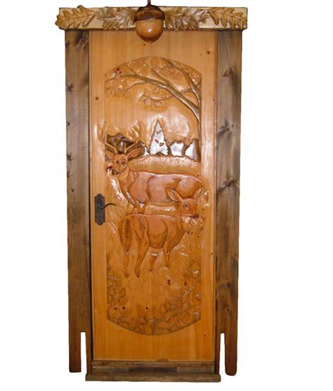 carved wood door buck  doe rustic artistry