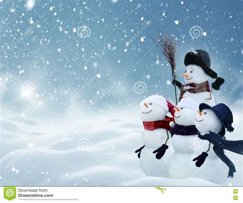 snowmen standing  winter christmas landscape stock photo image  hoarfrost nature