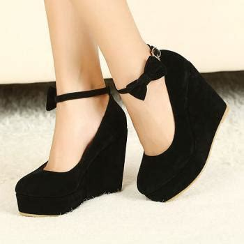 Wedges Pin Merak 4 5cm wedges black suede ankle pumps on luulla