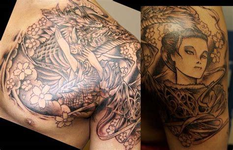 geisha tattoo with dragon grey ink geisha dragon tattoo on chest