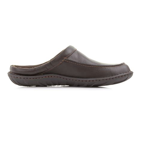slip on slippers for mens clarks kite vasa brown leather comfort slip on