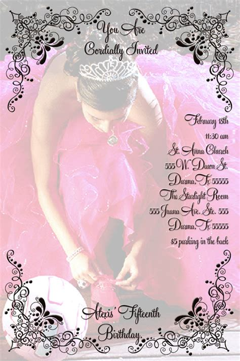 temple de invitaciones quinceanera quincea 241 era sweet 16 invitation personalized with your photo