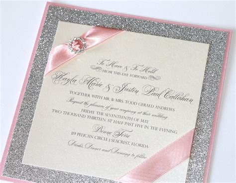 embellished paperie gorgeous silver glitter pink and ivory luxe wedding invitation set - Pink And Silver Wedding Invitations