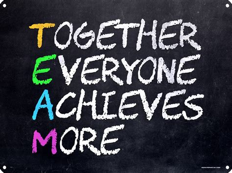 Motivational Wall Stickers team together everyone achieves more tin sign 40 7x30 5cm
