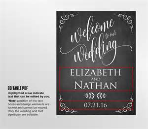 Wedding Signage Templates by Printable Wedding Welcome Sign Template Rustic Chalkboard