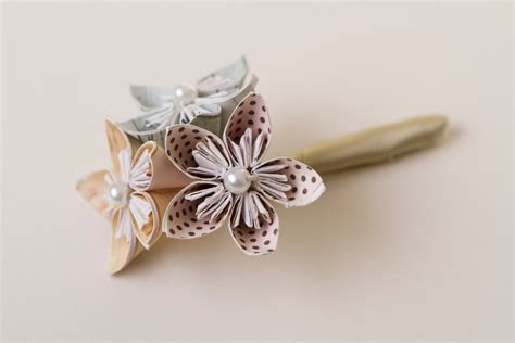 Origami Buttonhole Flower - origami wedding boutonni 232 re origami flowers kusudama