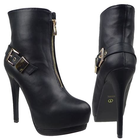 womens high heel leather boots womens ankle boots leather platform front zip up