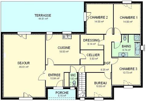 Plan Maison Plein Pied Gratuit 3383 by Plan Maison Plein Pied Gratuit
