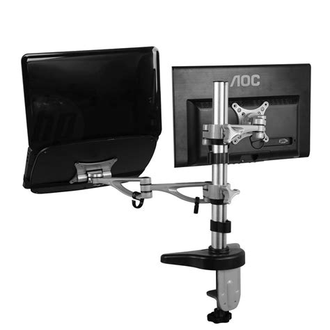 Computer Monitor Mounts Desk Fleximounts Dual Arm Desk Laptop Mount Lcd Arm For 10 In 27 In Computer Monitor And 11 In