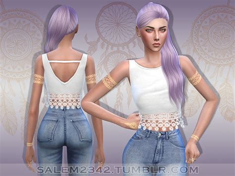 lace shirt the sims 4 salem lace crop top ts4 standalone 20 colors mesh by