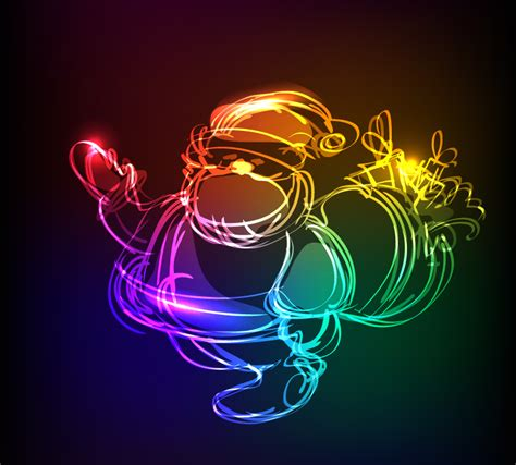 christmas light effect santa claus vector free vector